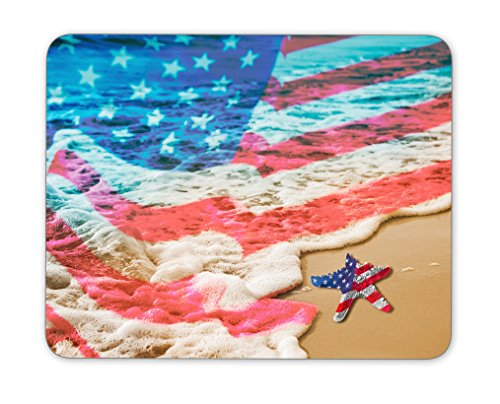 Starfish with USA flag on the sandy beach for Labor day concept mouse pad, Natural Rubber Mouse Pad, Quality Creative Wrist-protected Wristbands Personalized Desk, Mouse Pad (9.5 inch x 7.9 inch)