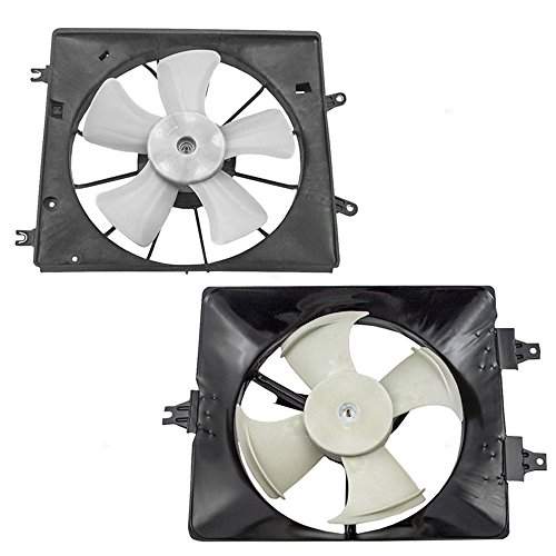 - 2 Piece Set Radiator & AC A/C Condenser Cooling Fans with Motors Replacement for Acura 19020-P8F-A01 38615-RDA-A00