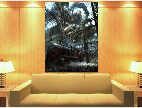PhotoSight Steampunk Painting Fantasy Art Rail Road Train 47x35 Huge Giant Print Poster 3