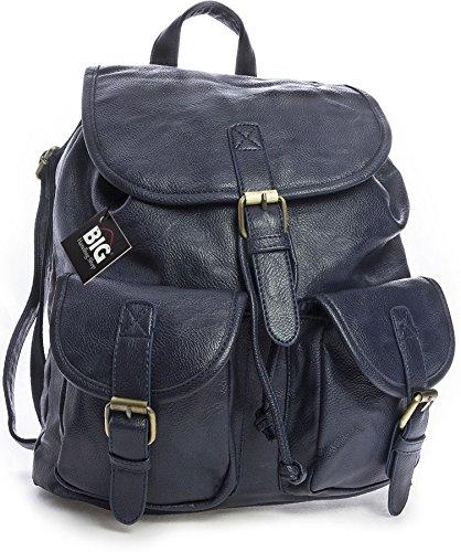 in Shop Big borsa casual zaino pelle viaggio doppia da vegana Unisex tasca viaggio scuro blu da Handbag qppwWr5t