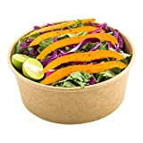 25-OZ Round Bio Salad Food Container – Kraft Brown Salad Boxes: Perfect for Take Out Restaurants and Cafes – ENVIRONMENTAL-FRIENDLY Recyclable Paper – Lid Sold Separately – 200-CT – Restaurantware