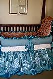 Princess Crib Bedding in pale aqua and coral