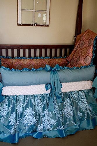 Princess Crib Bedding in pale aqua and coral by Rocking Horse Designs