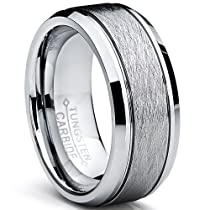 Metal Masters Co.® Tungsten Carbide Mens Brushed Center Wedding Band Ring, Comfort Fit ,8 mm Sizes 7 to 15