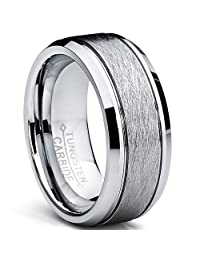Metal Masters Co.® Tungsten Carbide Men's Brushed Center Wedding Band Ring, Comfort Fit ,8 mm Sizes 7 to 15