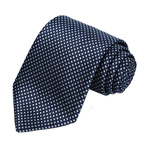 KissTies Plaid Navy Blue Tie Extra Long Necktie + Gift Box (63'' XL) (Extra Long Ties)