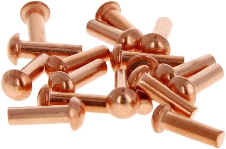 MroMax Head Diameter 4.5mm Shank Diameter x Length 2.5mm x 10mm Copper Round Head Solid Rivets Fasteners 100pcs