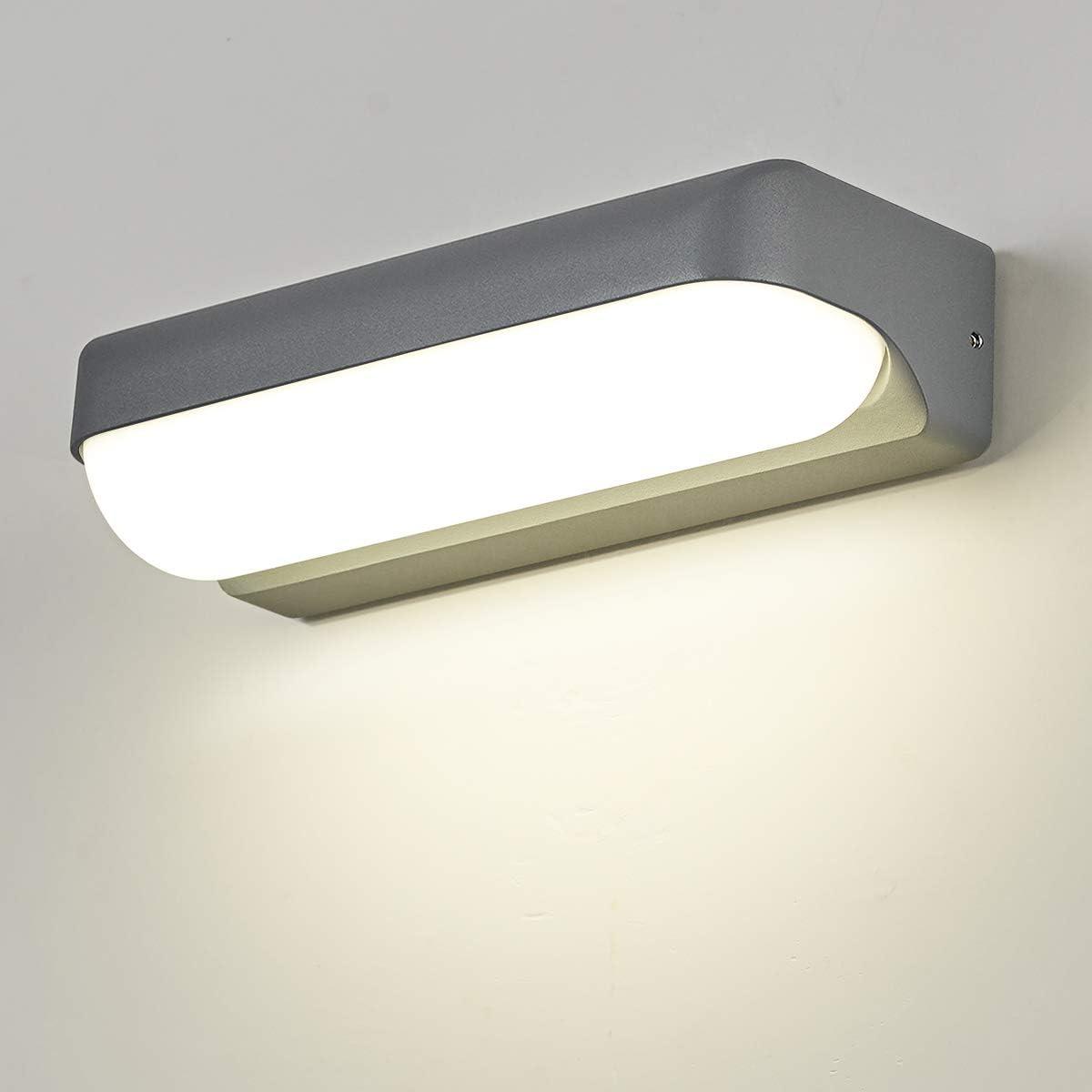 Dr.lazy 12W LED lámpara de pared LED impermeable IP65 moderno Focos de pared aluminio apliques Bañadores de pared Apliques de exterior/Interior Blanco Neutra 4000K (Gris/Blanco Neutra)