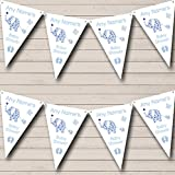 Cute Elephants Boy Blue Welcome Home New Baby Bunting Banner Garland