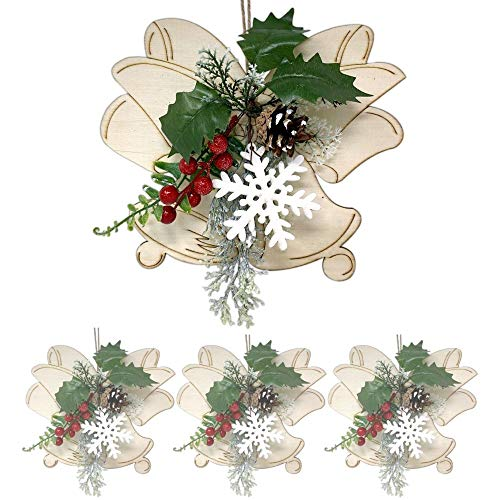 BANBERRY DESIGNS Christmas Bell Shaped and Pinecone Ornaments - Set of 4 Wooden Bells Cutouts and Red Berry Holiday Decorations - Hanging Rustic Xmas Decor Windows Doors - 8-Inch High