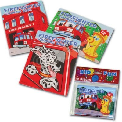 US Toy Assorted Fireman Fire Engine Mini Coloring Books (Lot of 12)]()