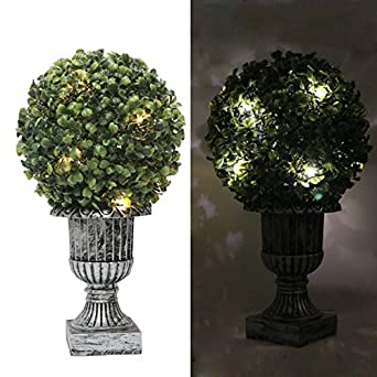 Outdoor Topiary Trees With Lights Amazon 13 outdoor topiary artificial plants with battery 13quot outdoor topiary artificial plants with battery operated 10pc led lights waterproof boxwood b workwithnaturefo