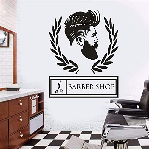 pabear Wall Sticker Family DIY Decor Art Stickers Home Decor Wall Art Barbershop Logo Hair Studio Decoration Hairdresser Hair Cut Window -