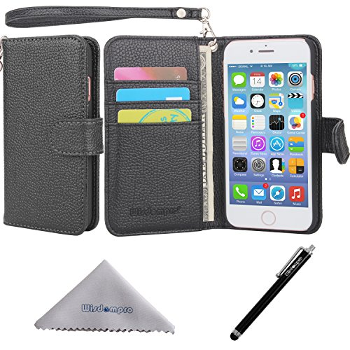 iPhone 7 Case, iPhone 8 case, Wisdompro Premium PU Leather Protective [Folio Flip] Wallet Case with Multiple Card Holder Slots for [4.7 Inch] Apple iPhone 7, iPhone 8 -W/Wrist Lanyard (Black)