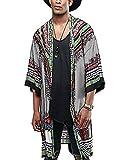 COOFANDY Mens African Dashiki Print Ruffle Shawl Collar Cardigan Lightweight Long Length Drape Cape (Small, Grey
