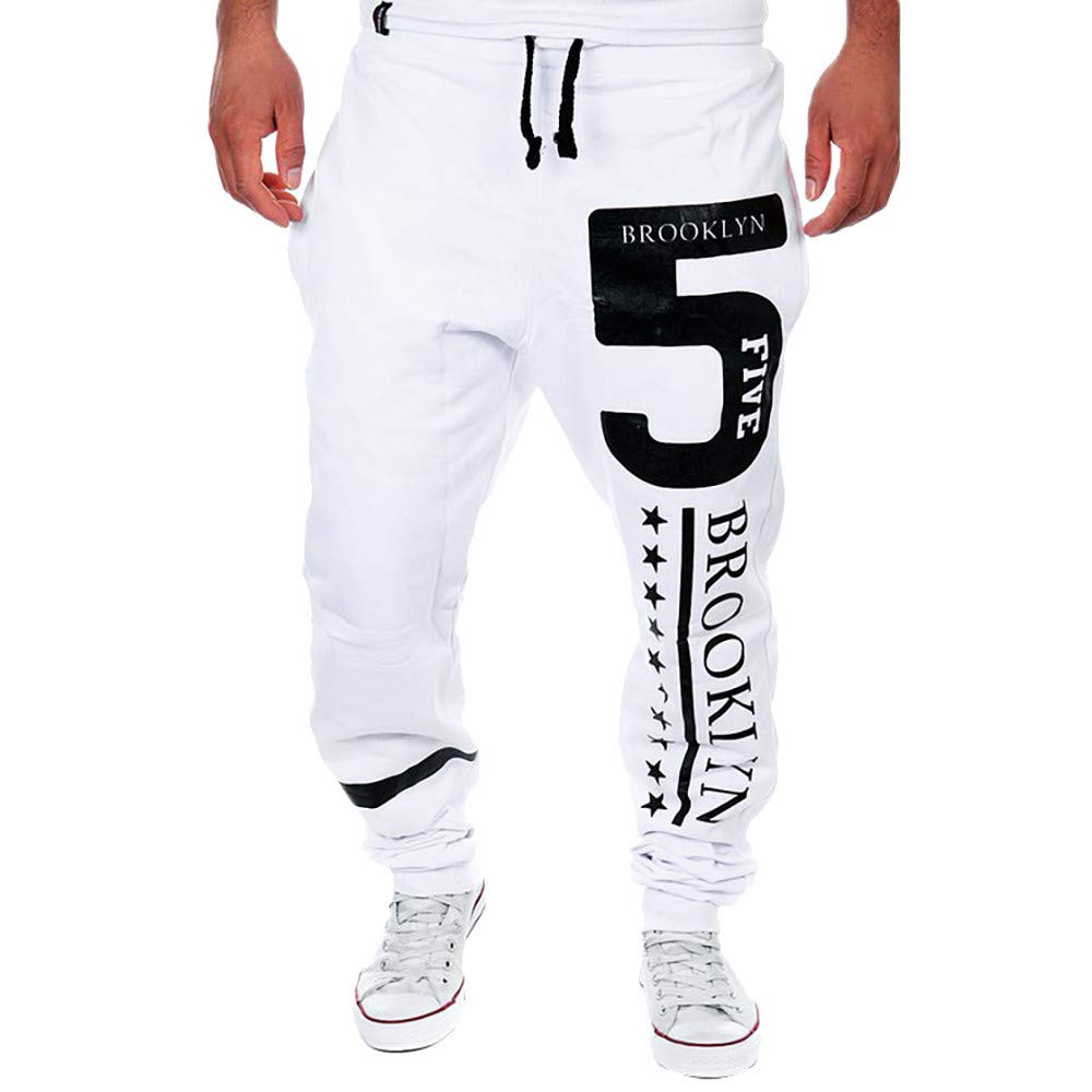 Molyveva Men Print Letter Casual Beam Foot Sweatpants Trousers Jog Sport Pants