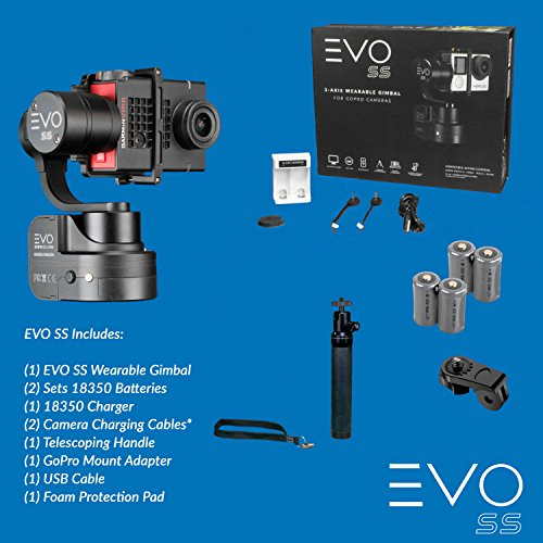 EVO Gimbals EVO SS 3 Axis Wearable Gimbal for GoPro Hero3, Hero4 or Hero5 Black, Session, Garmin Virb Ultra 30, YI 4K - 1 Year US Parts & Labor Warranty