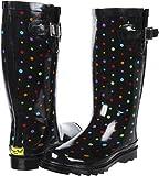 Western Chief Women's Ditsy Dots Rain Boot,Black,9 M US