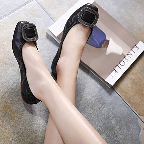 Bout Mocassins Confort Glisser Huatime Ballerines Strass Unique Doux Cuir Femme Noir Carré Escarpins Chaussures Marche Plat Boucle TTI6w