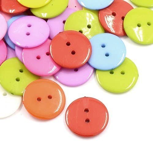 2 Hole HA09495 - - Charming Beads Pack of 50+ Mixed Acrylic 16mm Round Buttons