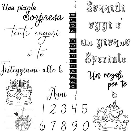 (Happy Birthday with Italian Words Transparent Clear Silicone Stamp/Seal for DIY Scrapbooking A1269)