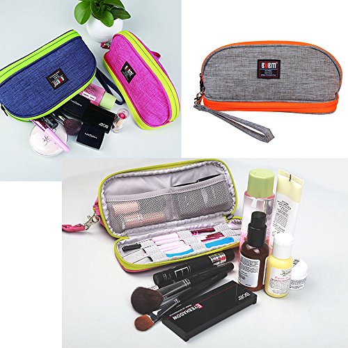 Makeup Bag BUBM Double Layers Travel Cosmetic Pouch Small Portable Toiletry Kit Organizer with Handle Waterproof (Gray)