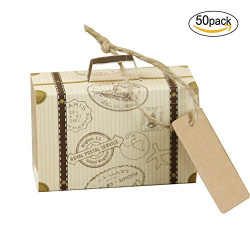 sexyrobot Suitcase Favor Boxes Kraft Favor Candy Box with Tags and Burlap Twine for Travel Wedding Birthday Shower Party Decors, 50 PCS (Personality Favors Box)