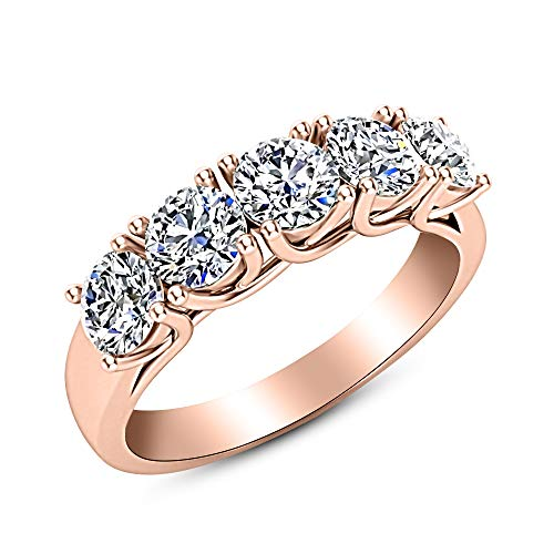 2 Carat (ctw) 14K Rose Gold Round Diamond Ladies 5 Five Stone Wedding Anniversary Stackable Ring Band Value Collection