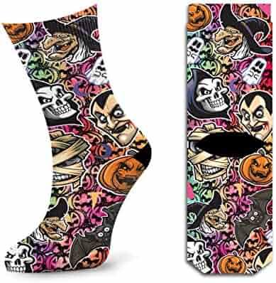 Enthusiastic Funky Men Pumpkin Dress Socks Novelty Funny Unisex Halloween Dark Green Casual Long Sock For Large Size Underwear & Sleepwears