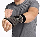 CFR Copper Wrist Support Compression Sleeves Guaranteed Braces for Carpal Tunnel, RSI, Cubital Tunnel, Tendonitis, Arthritis, Wrist Sprains Support & Recovery One Pair,L UPS Post