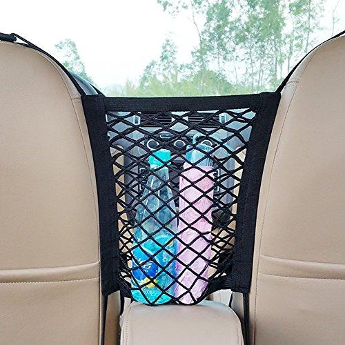 2-Layer Universal Car Seat Storage Mesh/Organizer—Mesh Cargo Net,Backseat Barrier for Pets & Kids,Phone Tissue Purse Holder