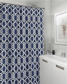 Emporia Navy Blue White Canvas Fabric Shower Curtain: Geometric Lattice  Design, 70 By 72