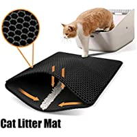 Cat Litter Trapping Mat for Indoor Cats - Double-Layer, Non-Slip Kitty Litter Catching Trapper Pad with Honeycomb Design…
