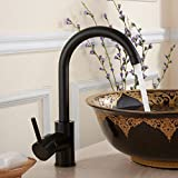 Fapully Bathroom Sink Faucet Black Painting Single Handle Lavatory Basin Taps with Swivel Spout
