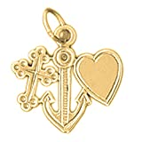 18K Yellow Gold Faith, Love, & Hope Pendant - 19 mm