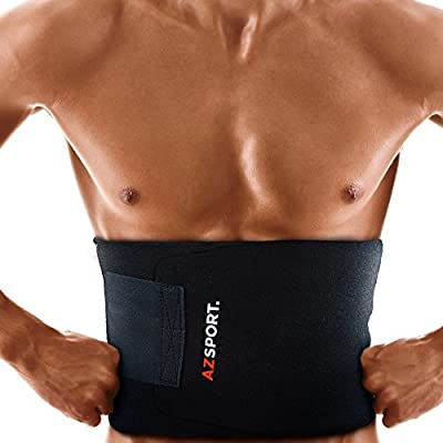 AZSPORT Waist Trimmer - Adjustable Ab Sauna Belt to shed the excess Water, weight and tone of mid section, Black - One Size Fits up to 50 Inches