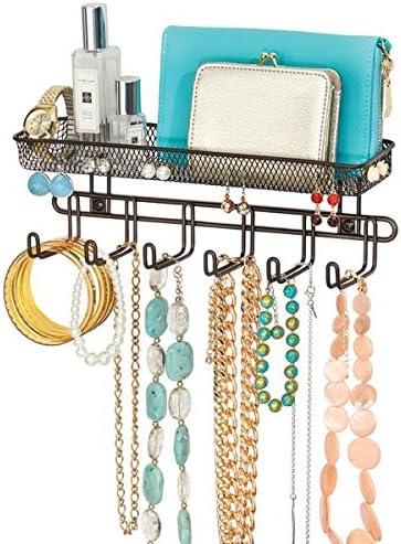 mDesign Práctico organizador de joyas para pared– Con 6 ganchos y ...