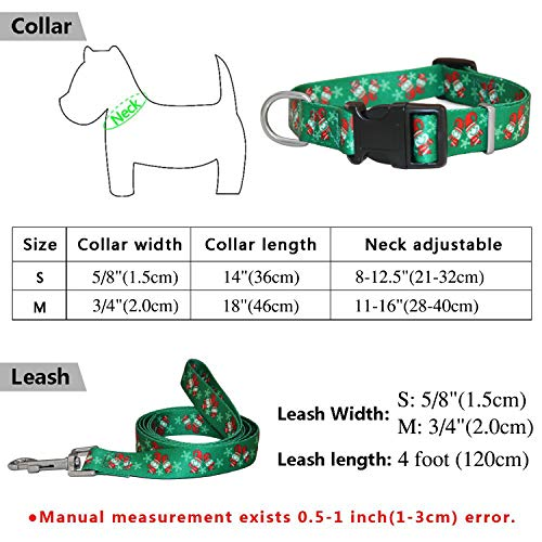 Product image of RYPET Christmas Dog Collar Leash - Santa Claus Pattern Adjustable Collars Dogs, Medium, Neck 11