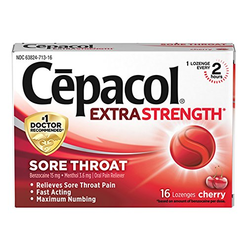 (Cepacol Extra Strength Sore Throat & Cough Drop Lozenges, Cherry 16ct)