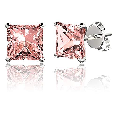 .925 Sterling Silver Hypoallergenic Pink Cubic Zirconia Princess-Cut Stud Earrings, 7mm (Crystal Pack Earring Stud)