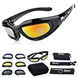 Tactical Glasses,DOPSIP Cycling Glases Protective Military Goggle with 4 Replaceable Lenses (Black)
