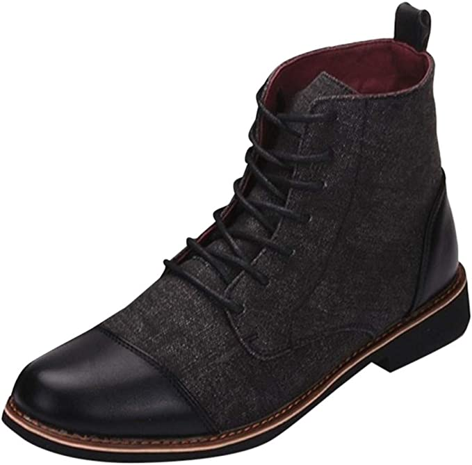 Men Canvas Leather Short Boots Casual