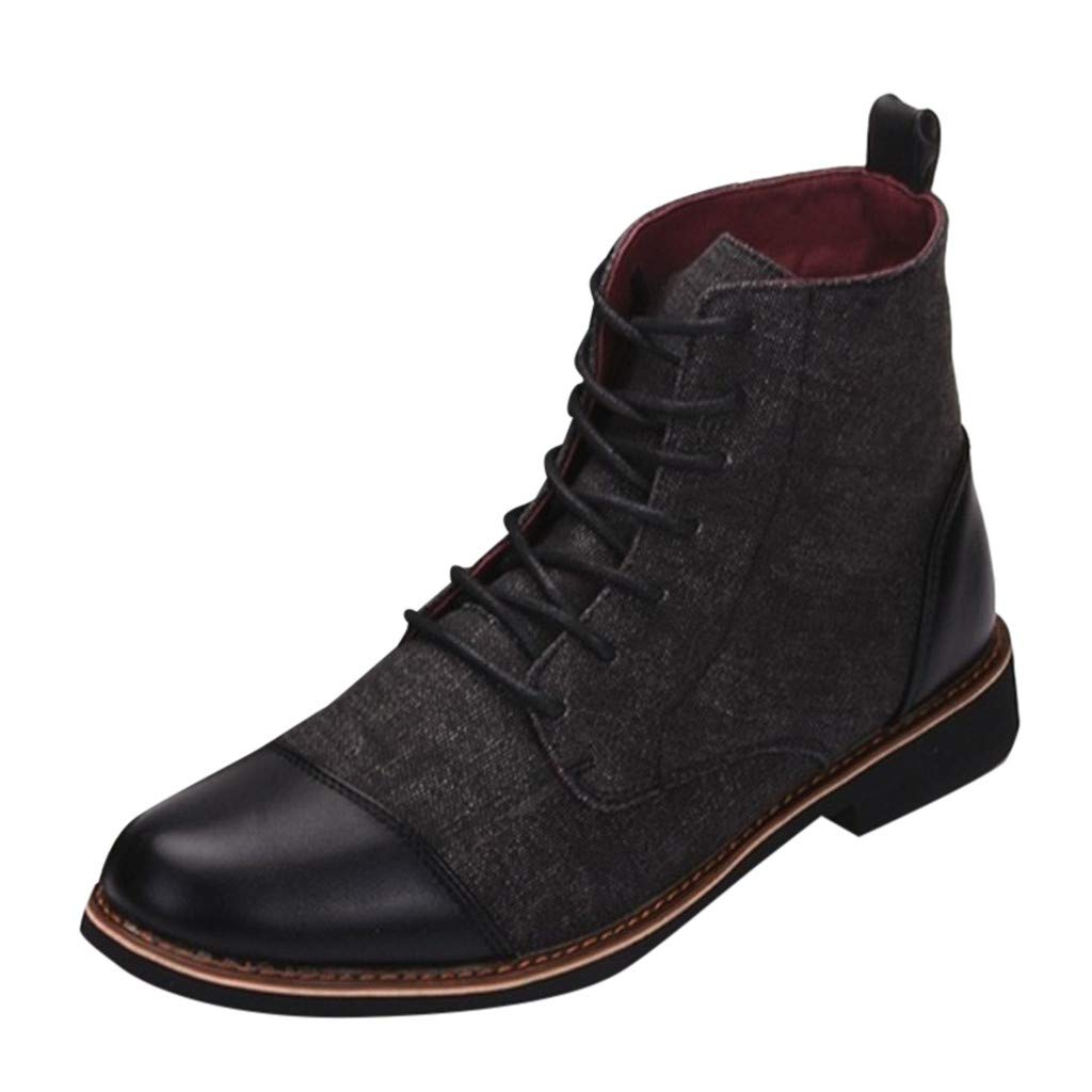 Men Canvas Leather Short Boots Casual England Chukka Lace Ankle Bootie Chukka Shoes (US:7, Black)