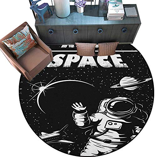 """Astronaut Round Rug Kid Carpet The Race to Space Retro Image with Space Crafts Planets Astronaut vs Cosmonauts Circle Rugs for Living Room (79"""" Diameter) Black White"""