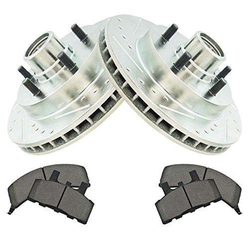 (Front Metallic Brake Pad & Performance Drilled Slotted Coated Rotors for Chevy)