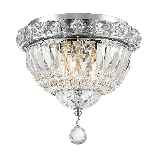 Worldwide Lighting Empire Collection 3 Light Chrome Finish and Clear Crystal Flush Mount Ceiling Light 8