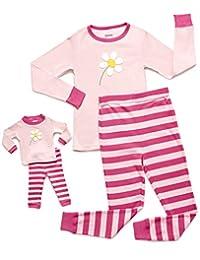 Leveret Matching Doll & Kid Flower 2 Piece Pajama 6 Year