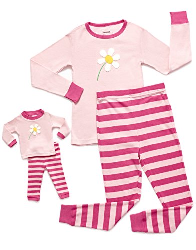 Leveret Flower Matching Doll & Girl 2 Piece Pajama Set 100% Cotton 6 Years -