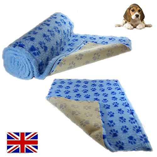 3m x 75cm Roll SoulPet Light bluee Dark bluee Paws Vet Bedding NON-SLIP ROLL WHELPING FLEECE DOG PUPPY PRO BED