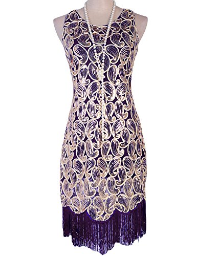 PrettyGuide Women's 1920s Sequin Paisley Racer Back Tassels Flapper Cocktail Dress – Small, Purple